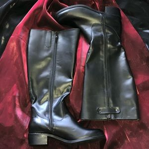 NWOT Fitzwell Double Zipper Black Wide Calf Boot